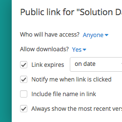 Public Link Settings Screenshot