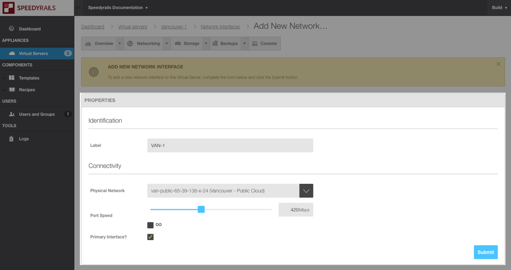 Add a new network interface - properties screen
